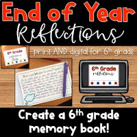 End of the Year Memory Book Reflections for 6th Grade