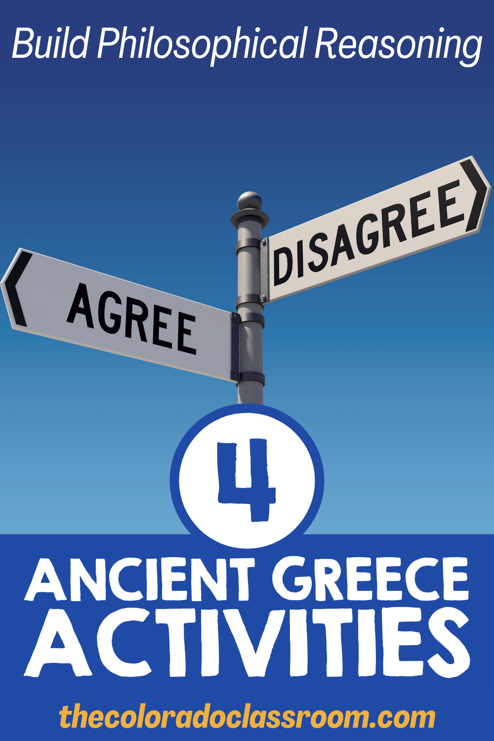 """A sign post with Agree pointing one way and Disagree pointing in the opposite direction. """"Build Philosophical Reasoning"""" at the top of a blue background, with """"4 Ancient Greece Activities"""" towards the bottom. A website, """"thecoloradoclassroom.com"""" is at the very bottom in gold."""