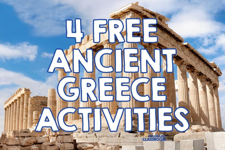 """The Parthenon in Greece with the text """"4 Free Ancient Greece Activities"""" on top."""