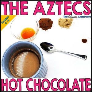 The Aztecs Hot Chocolate features a layout of the ingredients needed to make a cup of Aztec hot chocolate.