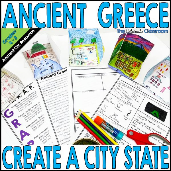 Ancient Greece City-State lesson with foldable city-state templates, a reading passage, G.R.A.P.E.S. mnemonic, and more