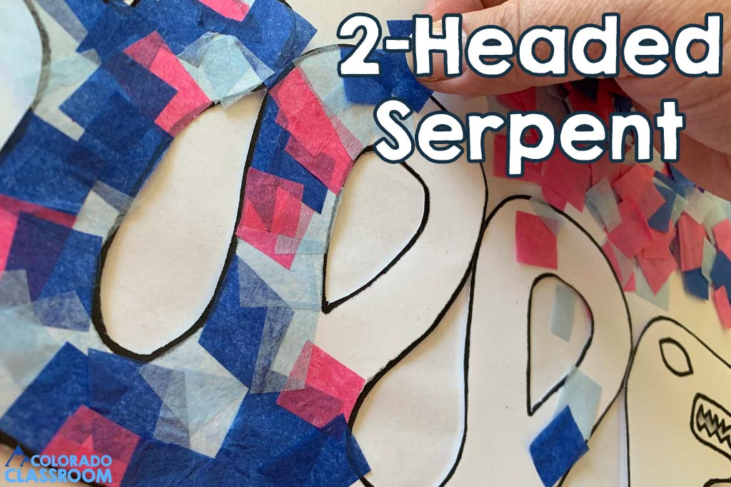 Create a 2-Headed Serpent with five, free craft items on the Aztecs. Two-headed serpent covered in colorful small tissue paper squares.