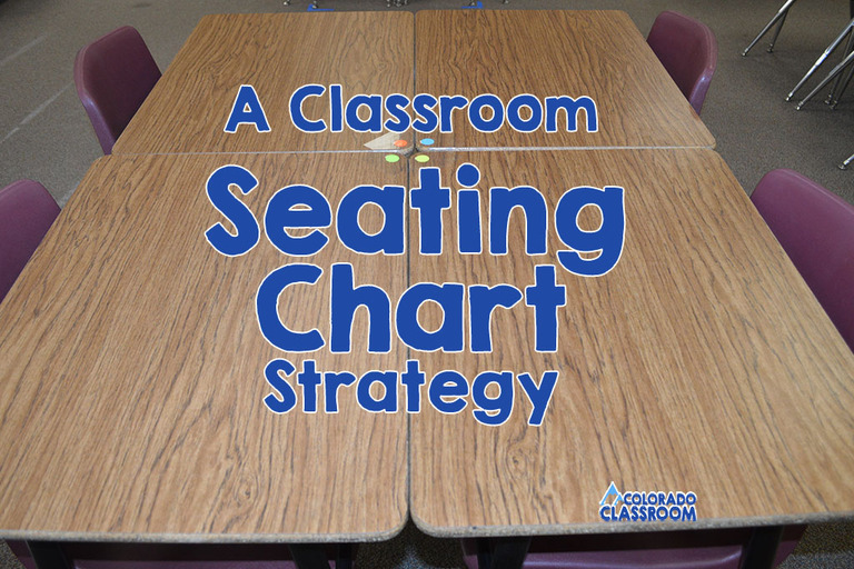 A Classroom Seating Chart Strategy - Four desks positioned in a pod with four stickers in the center, each a different color, to help with grouping.