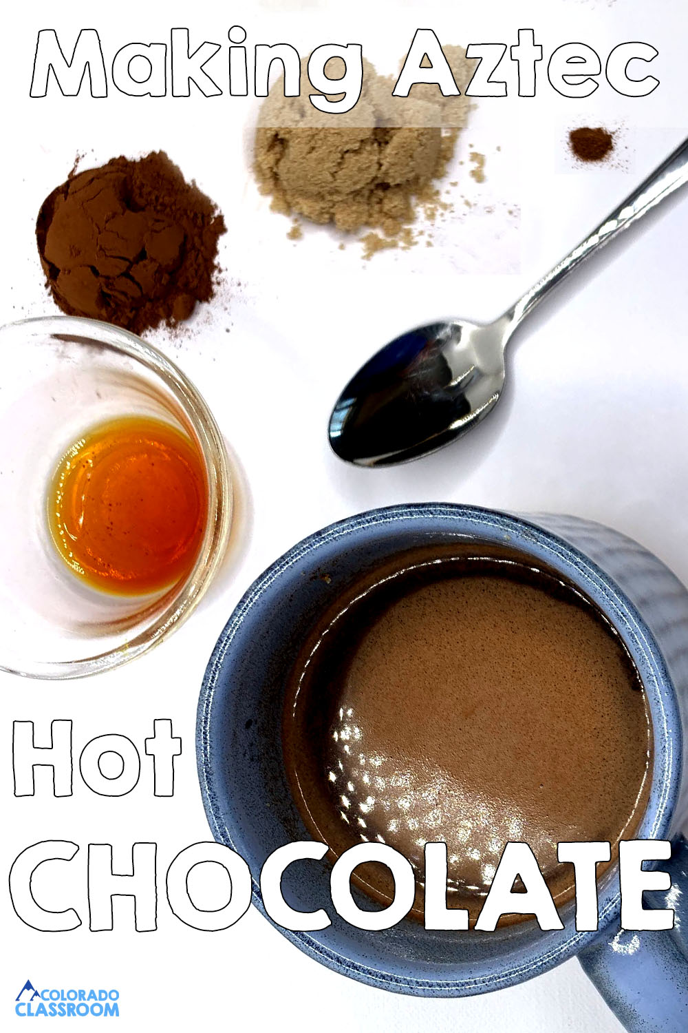 Ingredients for authentic Aztec Hot Chocolate laid out in small piles on a white background.