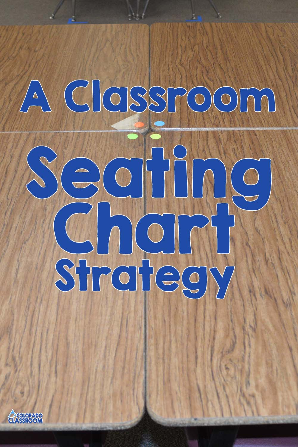 A Classroom Seating Strategy - Four desks positioned in a pod with four stickers in the center, each a different color, to help with grouping.