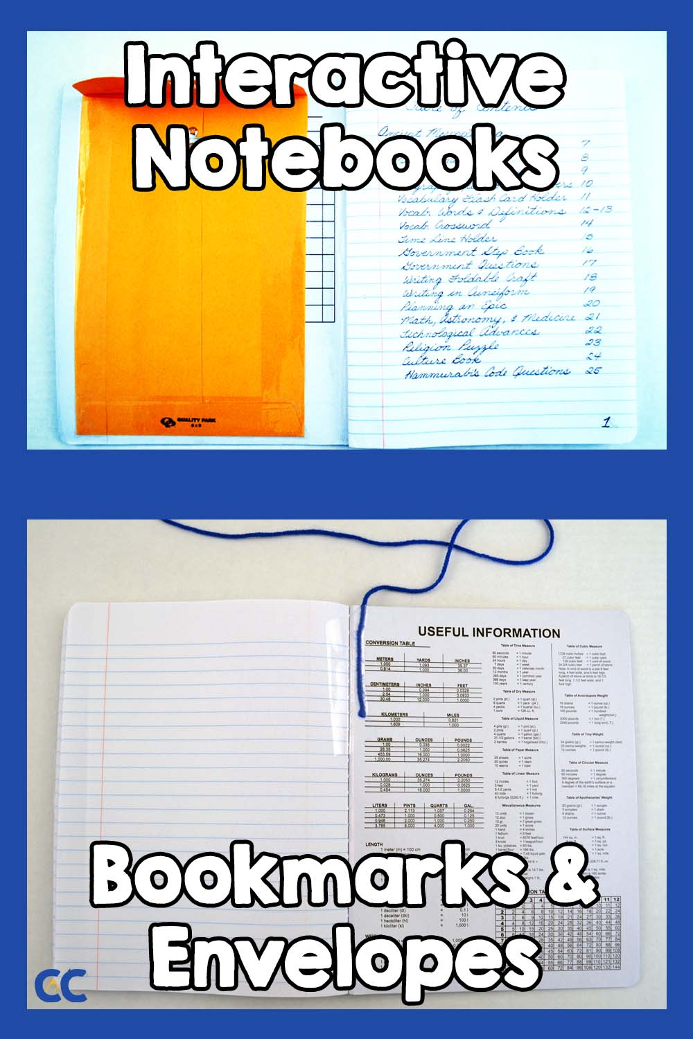 Two interactive notebooks open to different pages to show off the envelope at the front and the bookmark at the back.