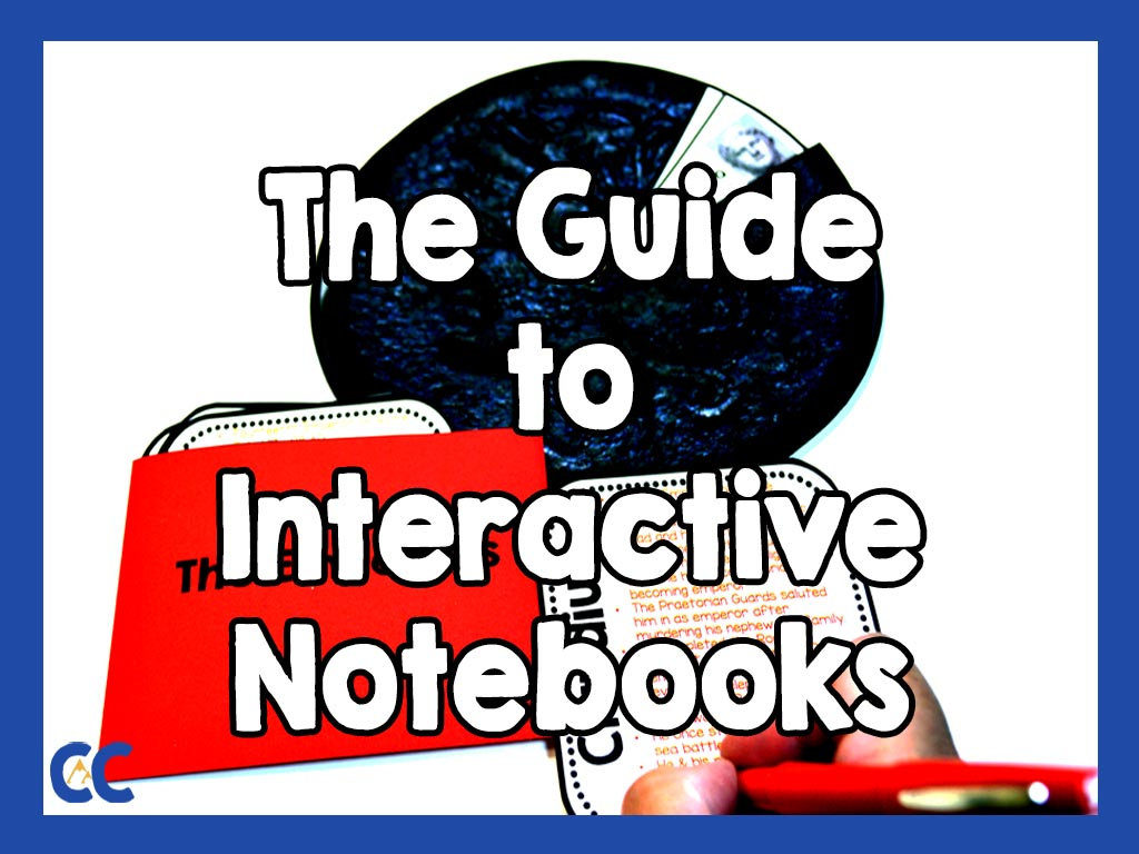 """An interactive notebook activity being completed with the text """"The Guide to Interactive Notebooks"""" on top and The Colorado Classroom logo in the bottom left corner."""