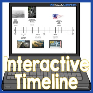 """A computer laptop with a digital interactive timeline on the screen and the words """"Interactive Timeline"""" over the top of the image."""