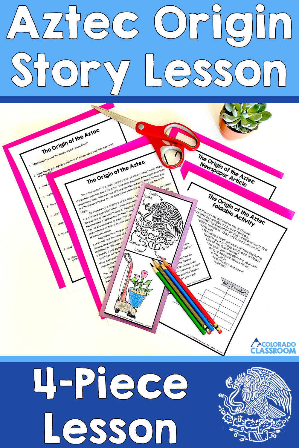 This image shows the Aztec Origin Story lesson with its four parts and a partially completed foldable activity.