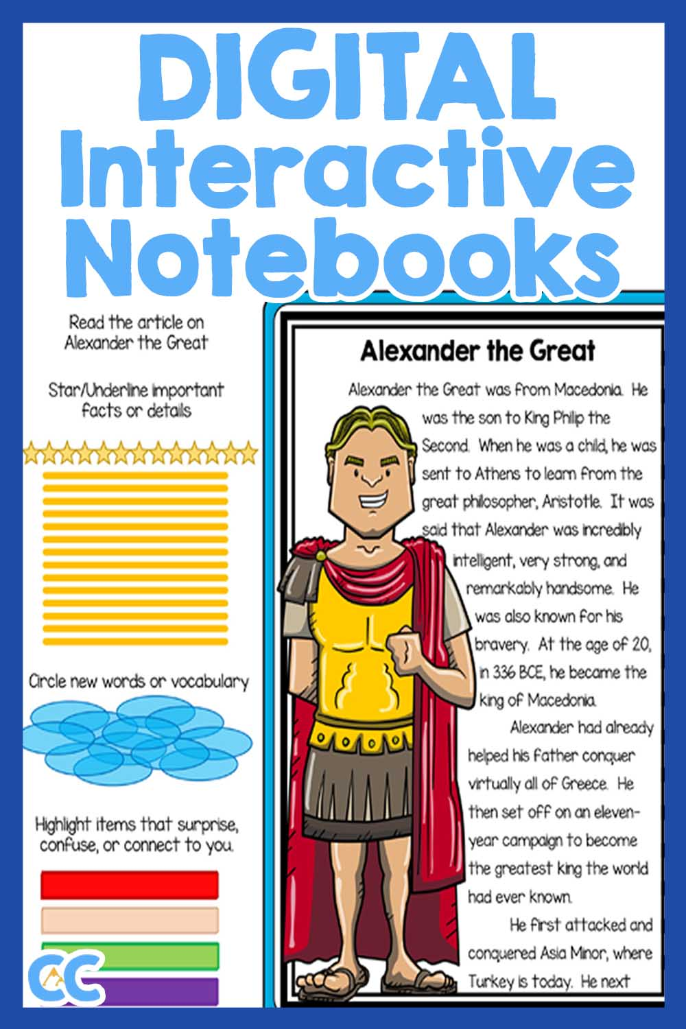 Digital Interactive Notebooks features a page from Alexander the Great with a reading and annotation tools in bright and bold colors.