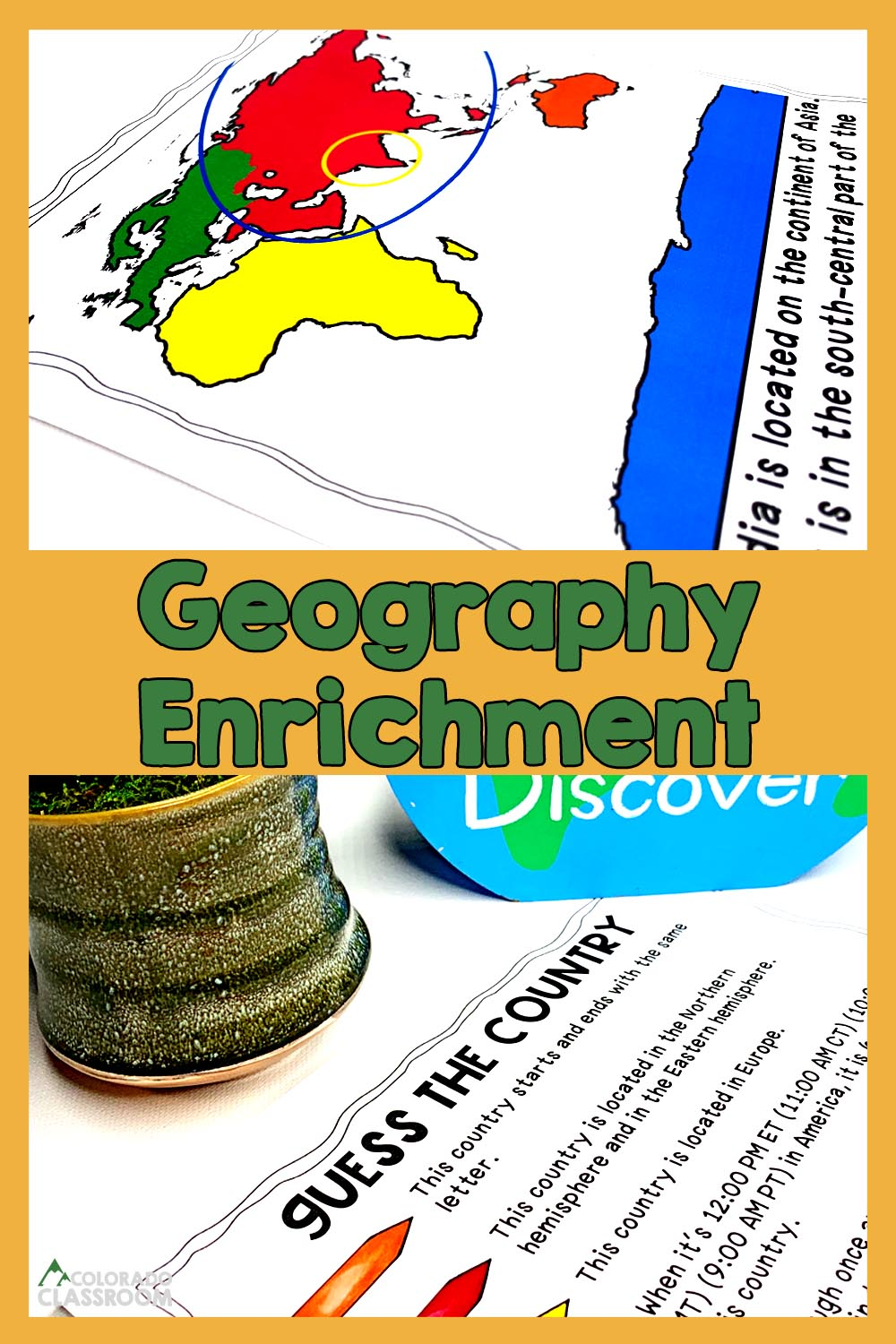 """Two geography enrichment activities with the text """"Geography Enrichment"""" on top and the logo """"Colorado Classroom"""" in the bottom left corner."""