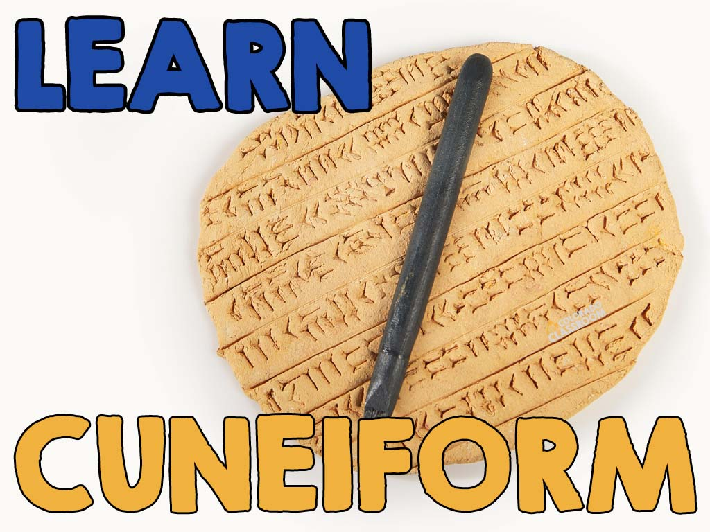 """A clay tablet with a stylus on top and cuneiform writing embedded into the clay. The text """"Learn Cuneiform"""" is on top, and the logo """"Colorado Classroom"""" is on the image as well."""
