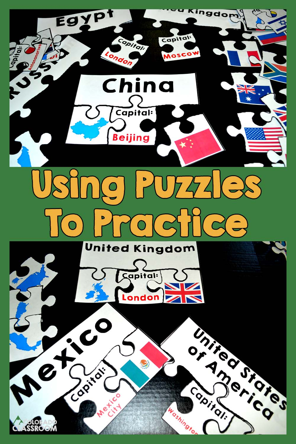 """Two pictures of geography puzzles to practice map skills with the text """"Using Puzzles to Practice"""" on top and the logo """"Colorado Classroom"""" in the bottom left."""