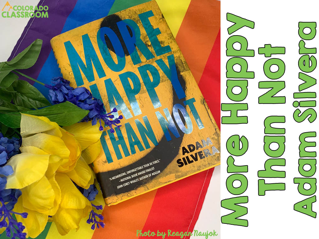 A book, More Happy Than Not, in a stylized pose with a gay Pride flag, and a group of yellow and purple silk flowers.