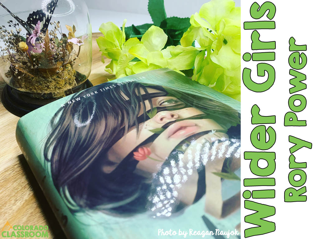 The book, Wilder Girls, on a wooden tray, with yellow and green silk flowers, and a butterfly in a glass dome.