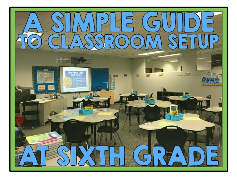 """A picture of a classroom setup at the beginning of the year with the text, """"A Simple Guide to Classroom Setup at Sixth Grade"""" on top of the picture."""