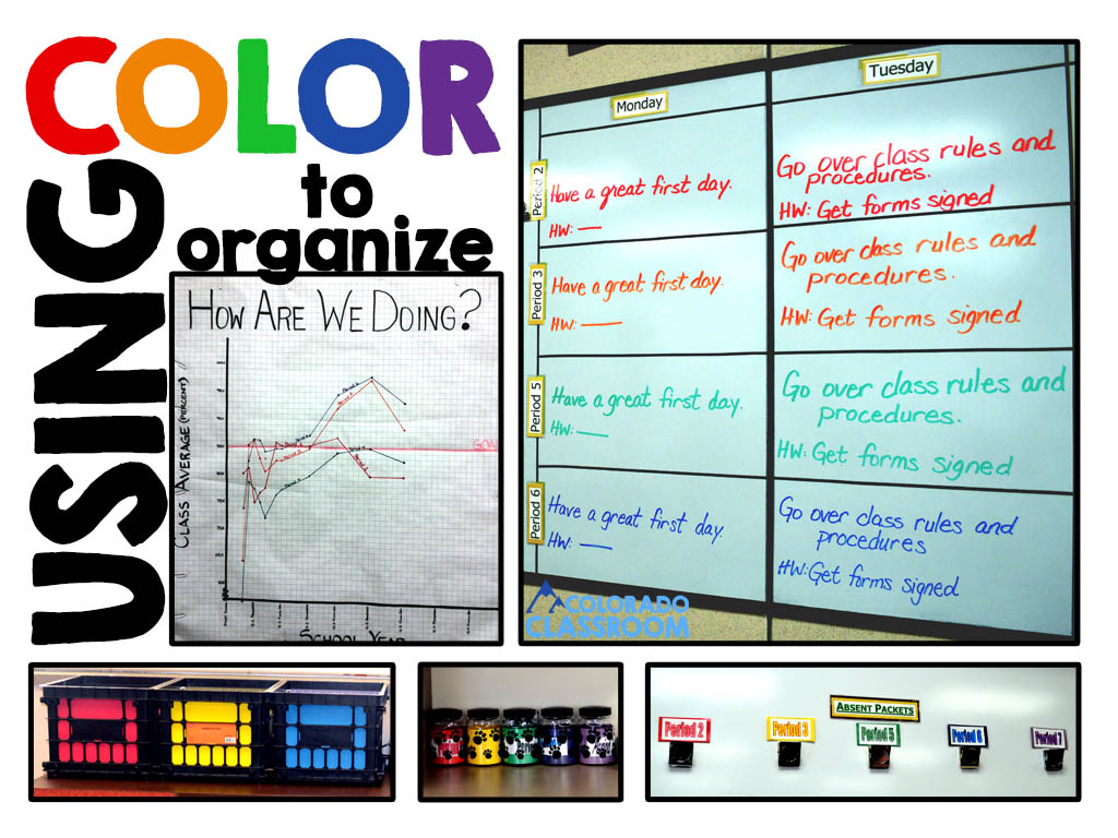 """Text - """"Using Color to Organize"""" followed by 5 pictures in which rainbow colors are used in order to create organization.  The pictures includes a graph of test results, a homework board, crates of portfolio folders, buckets for reward tickets, and absentee packets."""