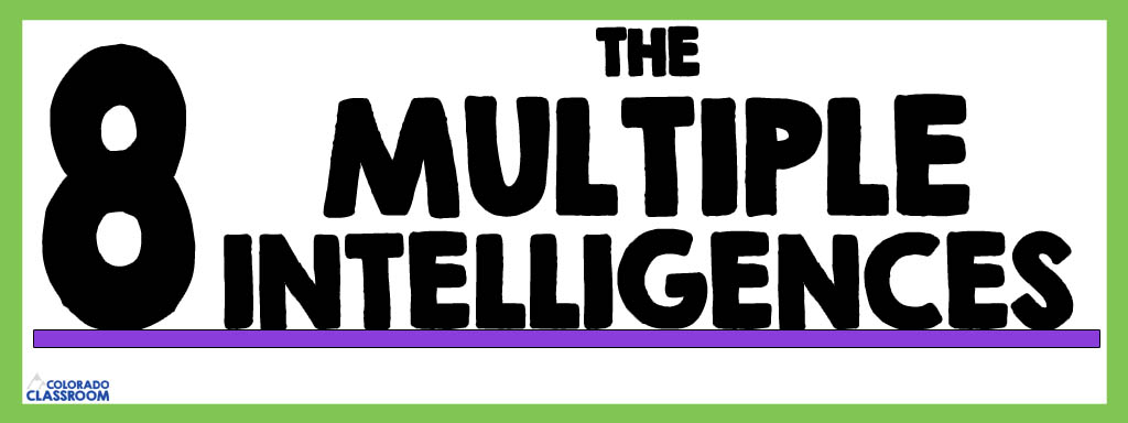 """""""The 8 Multiple Intelligences"""" as a text header inside a lime green frame and with a purple underline. Other text includes """"Colorado Classroom"""" logo."""