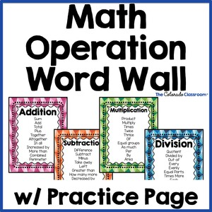 math operation word wall cover page with four posters