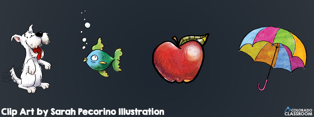 """Clip art of a dog, a fish, an apple, and an umbrella with the text """"Clip Art by Sarah Pecorino Illustration"""""""