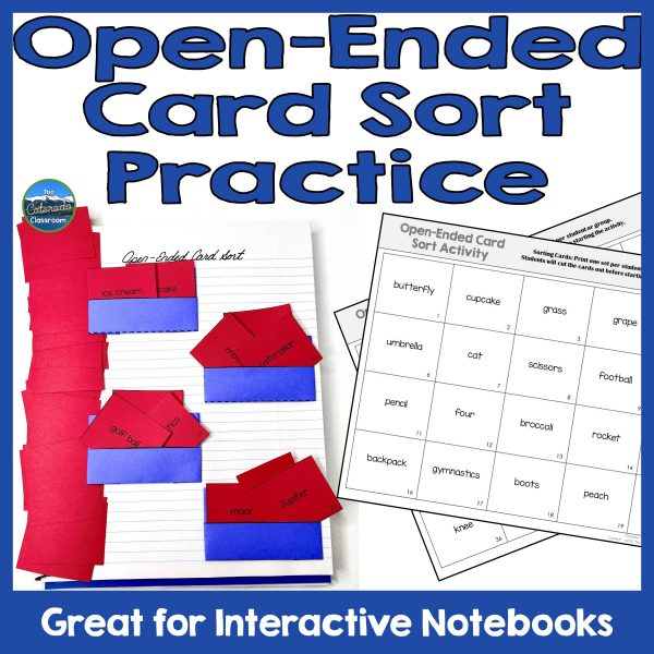 """Text """"Open-Ended Card Sort Practice"""" with a photograph of the card sort in a notebook with four pockets and numerous cards, and then two sheets of cards uncut, with random words displayed."""