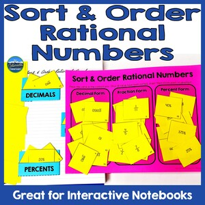 """Text """"Sort & Order Rational Numbers"""" with two photos of card sorts. One card sort is in a notebook with pockets, and one card sort is on a game mat."""