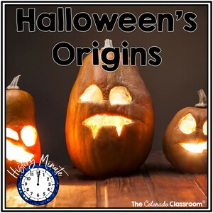 """Three carved pumpkins on a wood floor with the text """"Halloween's Origins"""" on top for the Origins of Halloween Reading Activity"""