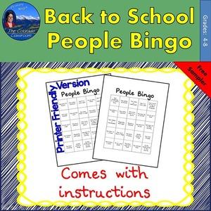 Back to School - People Bingo Back to School - People Bingo Sampler Cover Page